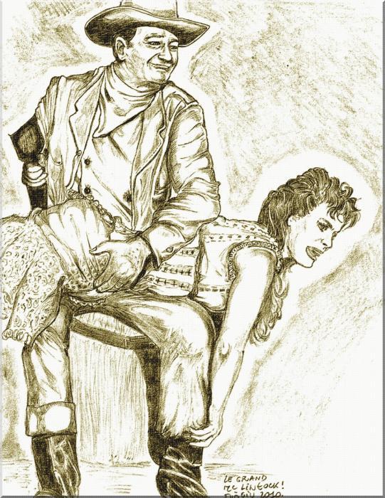 John Wayne, Maureen O'Hara by didgiv